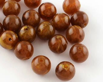 Round Acrylic Beads - Brown - 6mm - Set of 50 - #RB180