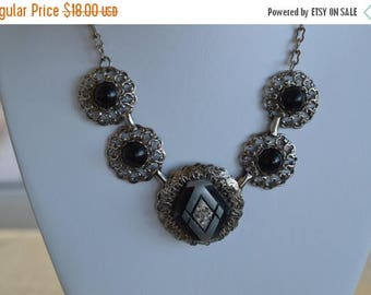 On sale Pretty Vintage Filigree Necklace, Black, Rhinestone