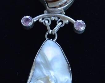 ON SALE Beautiful Shell, Biwa Pearl, PInk Topaz Large Pendant, Sterling Silver (AD14)