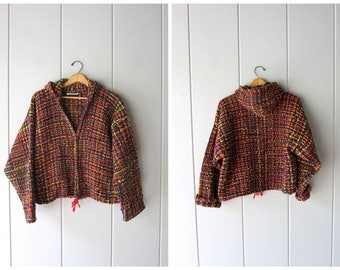 Chunky Wool Sweater Coat Ecuadorian Hooded Tweed Jacket Thick Woven Knit Cardigan Sweater Boho Coat Ethnic Wood Buttons Womens Blanket Coat