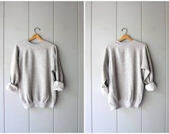 Plain gray 80s sweatshirt slouchy grey Raglan sweatshirt ATHLETICS Sports Sporty pullover work out shirt COED Size XL