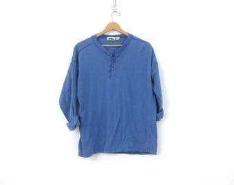 vintage Blue long underwear top minimal look button front Thermal layering  shirt basic Distressed Rugged henley COED shirt Large
