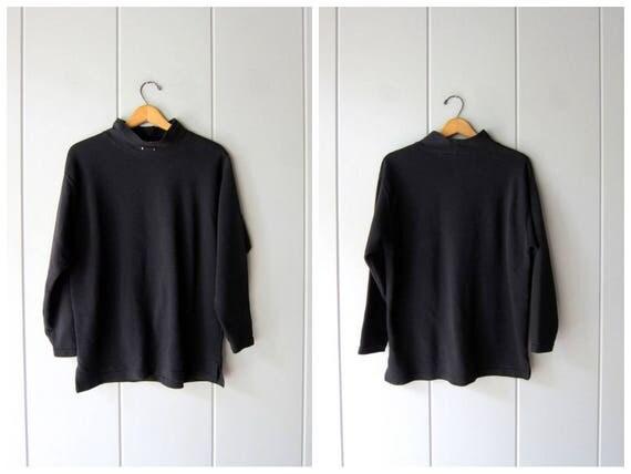 Vintage Black Ribbed Shirt Mock Neck Sweater Top Sporty Pullover Shirt Black Rib Knit Basic Long Sleeve Shirt Womens Large