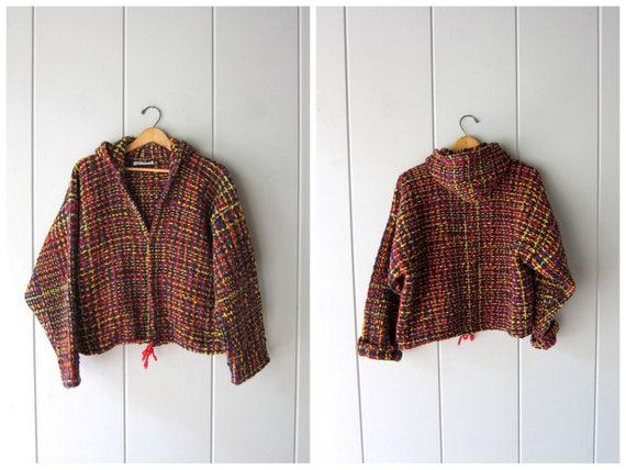 Chunky Wool Sweater Coat Ecuadorian Hooded Tweed Jacket Thick Woven Knit Cardigan Sweater Boho Coat Ethnic Wood Buttons Womens Blanket Coat