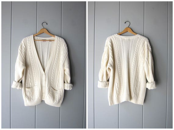 Slouchy Cream Sweater Oversized 80s Long Cardigan Sweater POCKETS Preppy Vintage 80s White Thick Knit Minimal Sweater Womens XL