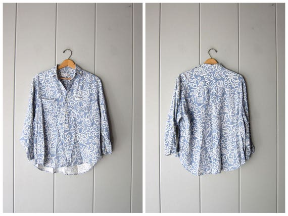 80s 90s GUESS Blouse Button Up Chambray Blue White Rayon Shirt Long Sleeve Floral Collared Top Slouchy Boho Preppy Shirt Womens Small