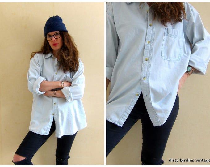 Chambray Jean Shirt Light Blue Denim Shirt Oversized Button Up Mens Work Shirt Slouchy Boyfriend Shirt Hipster 90s Jean Shirt Faded XL