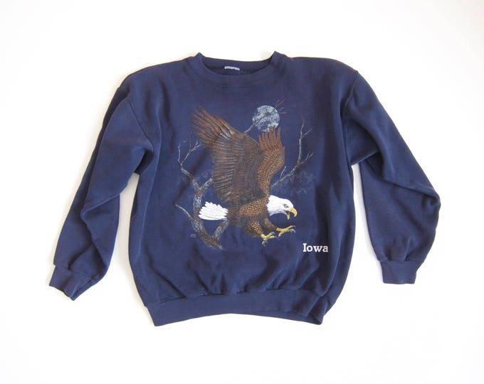 Vintage Eagle Sweatshirt | IOWA Sweatshirt| Navy Blue Patriotic Americana Sweater Grunge Trucker Hipster Nature Outdoorsman Top Large XL