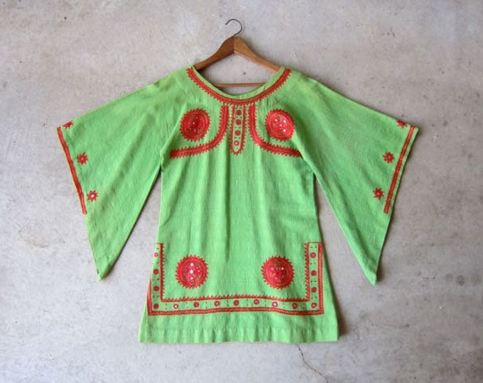 Vintage Indian Dashiki Dress | Green Cotton Tunic Top | Red Embroidered Banjara Mini Dress Caftan Ethnic Boho Tribal Womens Small