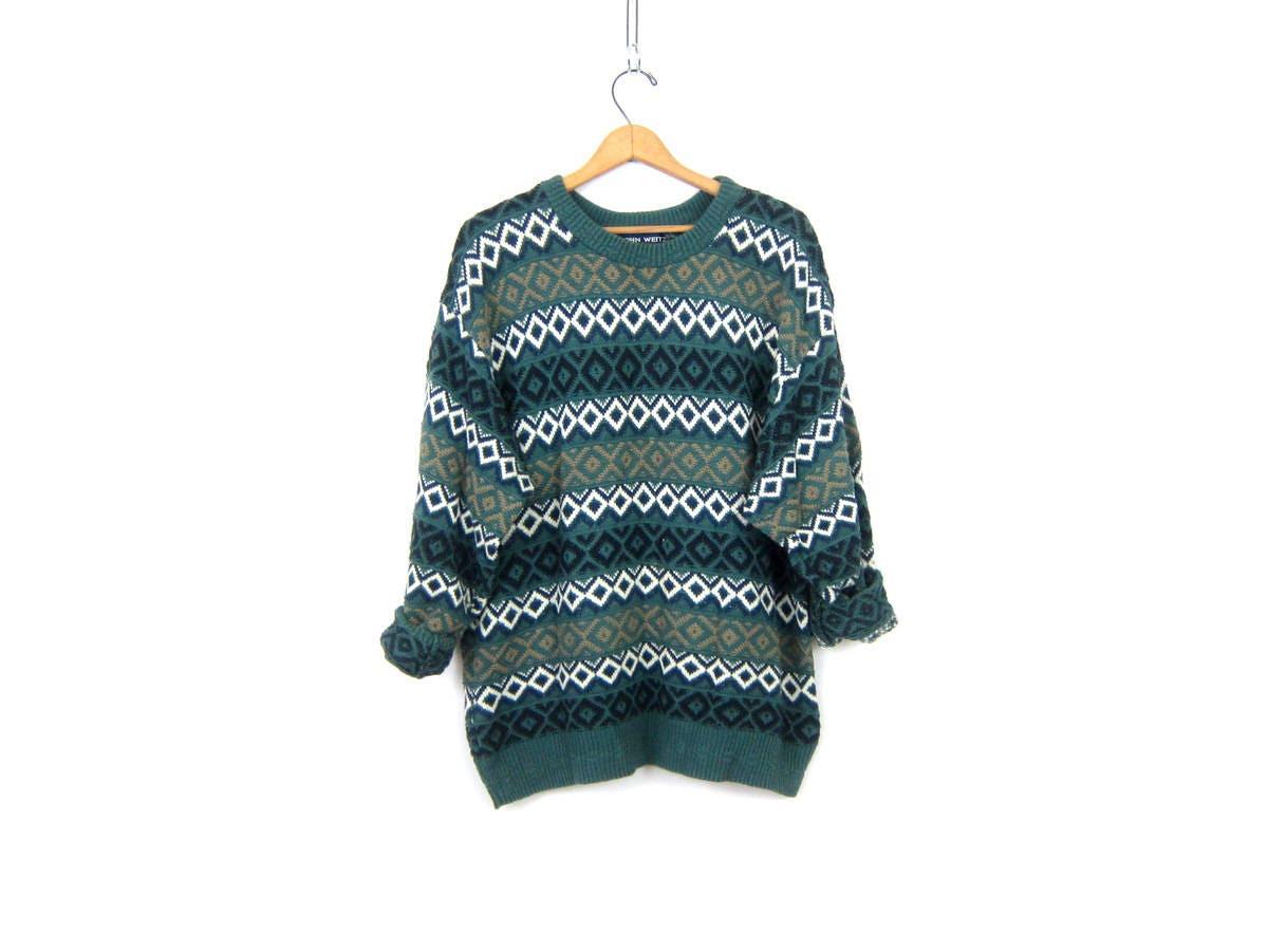vintage Pattern Sweater Baggy Green Boyfriend Sweater Basic