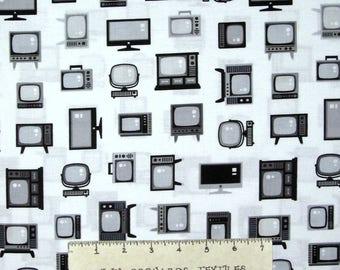 Let Me Entertain You Fabric - Retro Television Black White - Robert Kaufman YARD