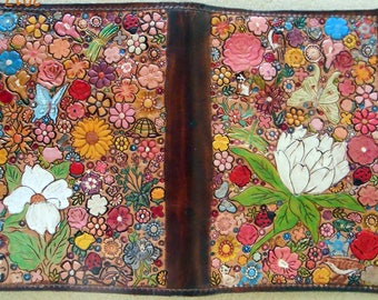 Leather Top Stub Check Book or Memo Book Cover with Flower Garden Design Made in GA USA