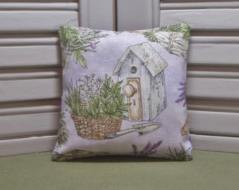 "Lavender fabric sachet, bird house, herb garden, scented pillow, drawer sachet, 4"" by 4"" size, 100% dried lavender for a lovely scent"