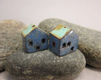 READY TO SHIP...Miniature Terracotta House Beads...Set of 2...Textured Blue Walls/Turquoise Green Roof