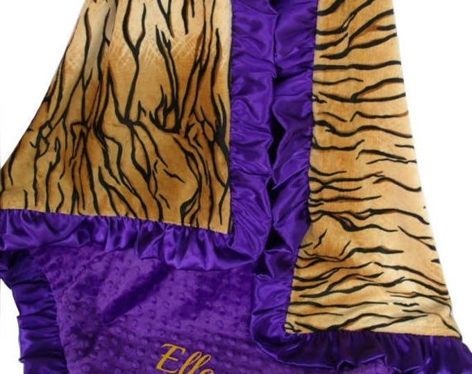 SALE Purple Tiger and Gold Minky Baby Blanket, 3 SizesCan Be Personalized