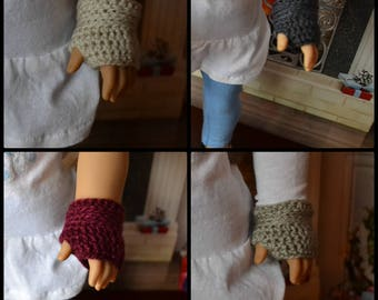 Doll Clothes - Boy or Girl Doll - Wristwarmers for 18 inch - Fingerless Mitts Gloves - MADE TO ORDER - you choose color - fits American Girl