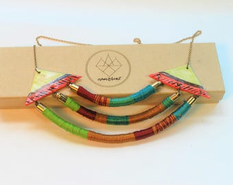 Colorful necklace, triangle necklace, statement necklace, neon necklace, wrapped coil necklace, modern necklace, porcelain bib necklace