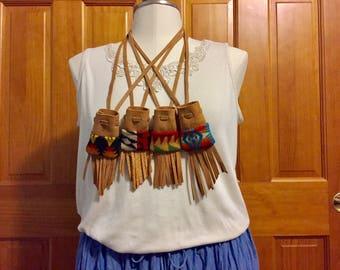 Fringed Medicine Bag Gift Set / Amulet Bag Gift Set /  Wool & Leather Handcrafted With Pendleton Woolen Mills Fabric
