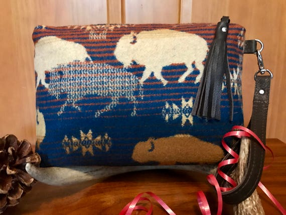 Wool & Leather Wristlet / Clutch XL Lined Running Buffalo
