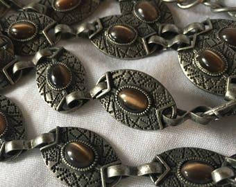 Vintage Cat's Eye Metal Link Belt