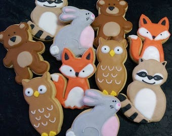 Woodland Animal Cookies - Raccoon - Bear - Rabbit - Fox - Owl - 10 Cookies