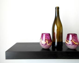 Hand Blown Stemless Wine Glasses in Bold Heliotrope, Pair of 2, Handblown glass, Wine Gift, Wedding Gift