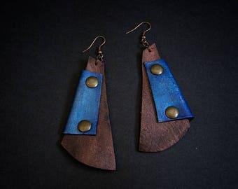 40% OFF SALE Blue and bronze leather earrings  Designer jewelry Elegant dangle earrings