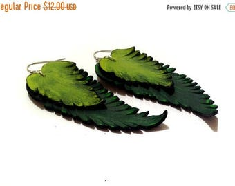 50% OFF SALE Leather earrings. Long dangle feather leather earrings. Green color