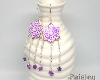 Violet Flower Chandelier Earrings, Purple Boho Flower Earrings, polymer clay statement earrings