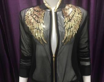 Sheer Bomber Jacket with gold detail, Bomber Jacket, Gold Bomber Jacket
