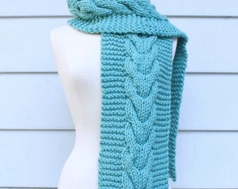 Hand knit scarf womans scarf - chunky cable scarf in sea foam green - warm winter scarf - ready to ship