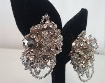 Lois Ann Crystal Bead Rhinestone Clip On Earrings