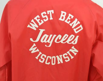 Vintage WEST BEND JAYCEES Wisconsin nylon jacket size Large