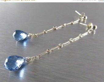 25 OFF Long Blue Topaz Sterling Silver Post Earrings
