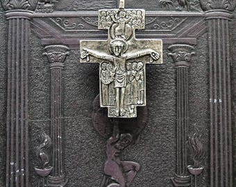 Saint Francis of Assisi San Damiano cross Crucifix  made in solid pewter  in Canada