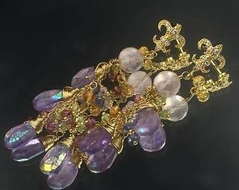 FLASH SALE Mystic Pink Amethyst Earrings Peridot Gold Dangle Earrings Wire Wrapped Gold Fill, Multicolor Gemstone, February Birthstone Gold