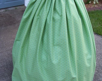 Dicken's Victorian Outfit Long drawstring Skirt or cape in Teal,yellow,and green cotton small print  or Sash, matching one size fit all