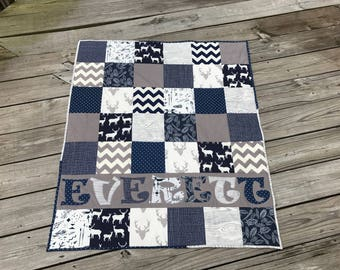 Navy Blue -Modern - Personalized Baby Quilt - Blanket - Crib Size - Animals - Gray - Woodland - Deer - Antlers - Feathers - Elk - Name