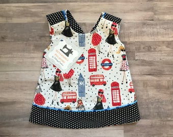 London Girl Reversible Crossover Pinafore Dress - Baby Girl - Black Red Blue - Dots - Washable - Baby Shower Gift - New Baby