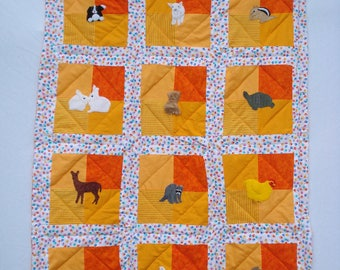Backyard Animals Crib Quilt for boys or girls, Hand Quilted, Hand Appliqued