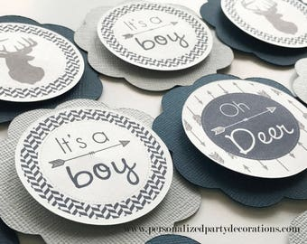Light Gray and Navy Deer Baby Shower Cupcake Toppers, Oh Deer Baby Shower, Baby Boy Shower, Baby Shower Décor - Ships Quick, Free Shipping