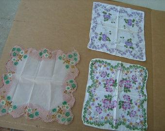 1970s estate find 3  vintage handkerchiefs