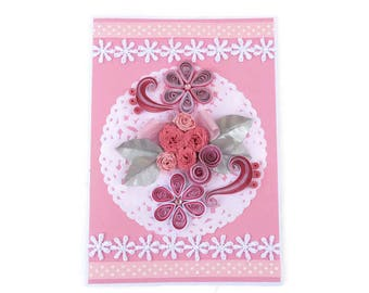 Free Shipping Card Paper Quilling Pink Roses,  Paper Quilled Fringed Flowers, Birthday, Mom Floral Art, Congratulations, Thinking Of You,