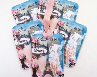 Paris Dream Tags, Eiffel Tower 1889 Gift Tags, French Lady, Black Vintage Retro Boot Tags, Tea Party, Birthday, Bridal Shower,Pink Roses