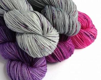 Hand dyed yarn, speckled yarn set, sock yarn, Find Your Fade yarn set, shawl knitting, fingering weight, 4ply yarn, purples grey and pink