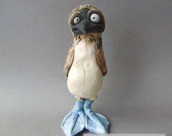 Blue Footed Booby Ceramic Bird Sculpture Wall Hanging