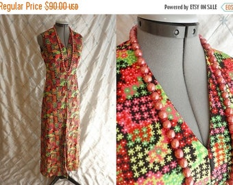 ON SALE 60s Dress // Vintage 1960s Red and Green Print Sleeveless Maxi Dress with Front Slit Size M