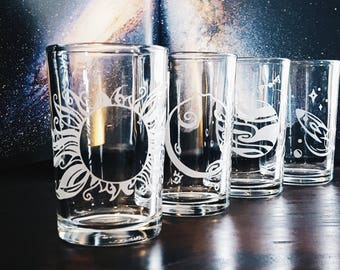 Planet Sun Moon Rocket Space | Etched Tumbler Glasses Set of 4