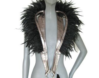 Metallic Feather Collar Harness,Leather collar,Feathered Shoulder Piece,Collar Epaulette,Tribal,Shaman,festival,dance: Renegade Icon Designs