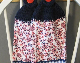 2 Crocheted Hanging Kitchen Towels - Red, White and Blue Flowers